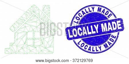 Web Carcass Home Icon And Locally Made Seal Stamp. Blue Vector Rounded Grunge Seal Stamp With Locall