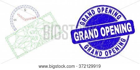 Web Mesh Banknote Credit Time Icon And Grand Opening Seal Stamp. Blue Vector Round Distress Seal Sta