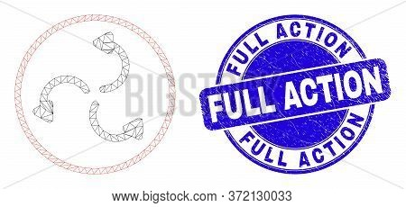 Web Mesh Cyclone Arrows Icon And Full Action Seal Stamp. Blue Vector Rounded Grunge Seal With Full A