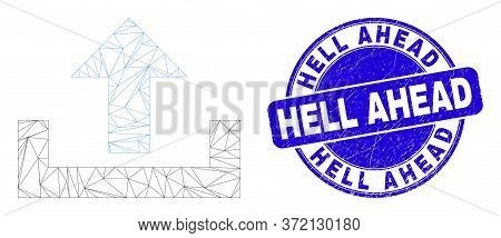 Web Carcass Upload Pictogram And Hell Ahead Stamp. Blue Vector Rounded Scratched Stamp With Hell Ahe