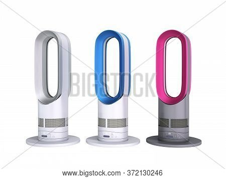 Different Color Modern Air Purifiers With Heating And Cooling Function 3d Render On White No Shadow