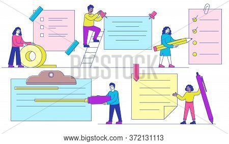 Diverse People With Assorted Notes Which Are Pinned, Taped, Clipped, On A Clip Board And With A Pape