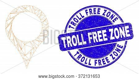 Web Mesh Map Pointer Pictogram And Troll Free Zone Seal Stamp. Blue Vector Round Scratched Stamp Wit