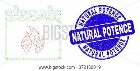 Web Mesh Hot Calendar Leaf Icon And Natural Potence Stamp. Blue Vector Rounded Scratched Seal Stamp