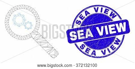 Web Carcass Explore Gears Icon And Sea View Stamp. Blue Vector Rounded Distress Stamp With Sea View