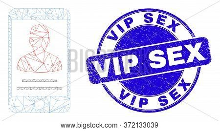 Web Carcass Mobile Person Contact Icon And Vip Sex Seal Stamp. Blue Vector Round Scratched Stamp Wit