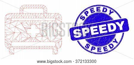 Web Carcass Medical Baggage Pictogram And Speedy Watermark. Blue Vector Rounded Textured Stamp With
