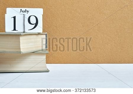 19th July Nineteenth Day Month Calendar Concept On Wooden Blocks With Copy Space