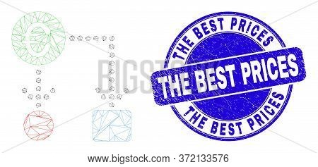 Web Mesh Euro Cash Flow Pictogram And The Best Prices Stamp. Blue Vector Round Scratched Watermark W