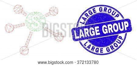 Web Carcass Dollar Links Pictogram And Large Group Watermark. Blue Vector Round Scratched Watermark