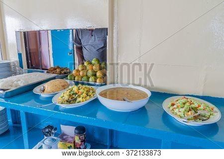 Pasur, Bangladesh - November 13, 2016: Buffet Lunch Aboard M. V. Dinghy Ship Of The Bengal Tours Ltd