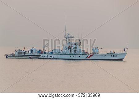 Pasur, Bangladesh - November 13, 2016: Bangladesh Coast Guard Ships On Pasur River, Bangladesh
