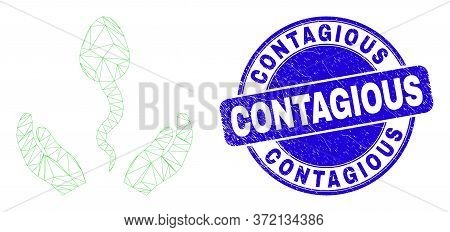 Web Mesh Sperm Care Hands Pictogram And Contagious Seal Stamp. Blue Vector Round Textured Watermark