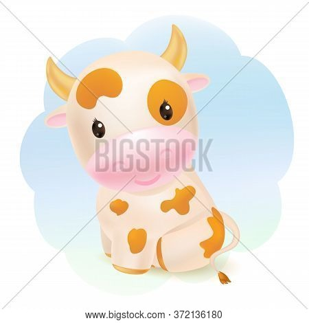 Cute Cow, Awesome Little Bull Sitting. 2021 Chinese Symbol. Soft Pastel Colours. Cartoon Sweet Style