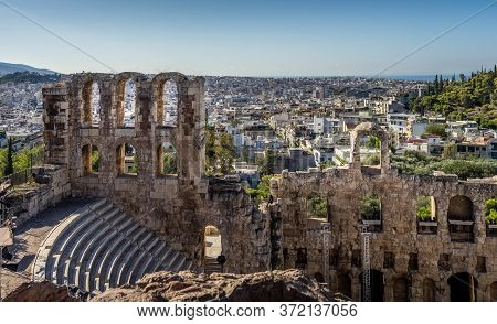 Panorama View Of The Ancient Odeon Of Herodes Atticus Theatre
