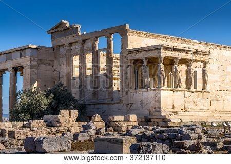 Erechtheion Temple With Caryatid Porch, Athens, Greece.
