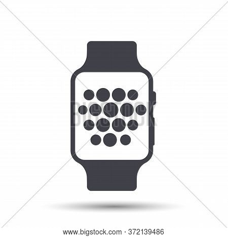Smart Watch Wearable With Time Face Flat Icon.