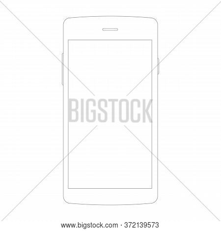 Line Icon Of Mobile Phone With Isolated On White. Vector Eps10