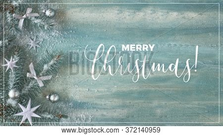 Xmas Background With Fir Twigs, Silver Trinkets And Stars On Green Mint Abstract Background. Panoram