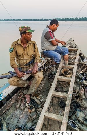 Sundarbans, Bangladesh - November 14, 2016: Member Of Security Personnel Of Sundarbans Forest Depart