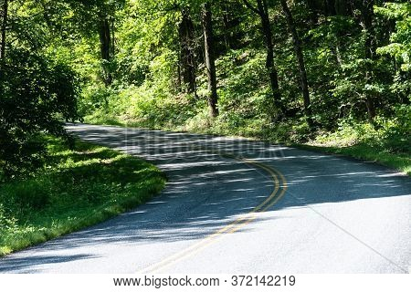 Meandering Roadway Through The Appalachian Mountain Along The Blue Ridge Parkway