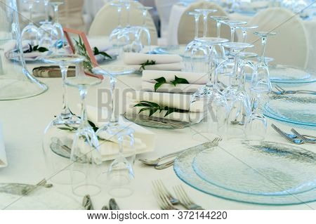 Serving On The Table Setting At A Banquet On The Table With Serving And Table Setting For A Receptio