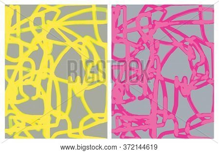 Abstract Hand Drawn Vector Layouts With Yellow And Pink Scribbles Isolated On A Gray Background. Inf