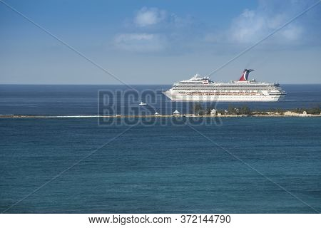 Nassau, Bahamas - March 1, 2018:  Carnival Cruise Lines Ship Departing From The Popular Destination