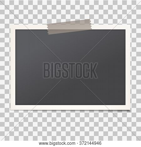 Realistic Vintage Photo Frame With Shadow On Transparent Isolated Background, Empty Photography Snap
