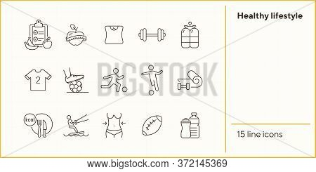Healthy Lifestyle Line Icon Set. Soccer, Diet, Fitness. Sport Concept. Can Be Used For Topics Like A