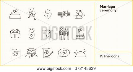 Marriage Ceremony Line Icons. Set Of Line Icons. Wedding Cake, Suitcase, Balloons. Wedding Concept.
