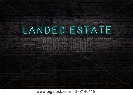 Neon Sign With Inscription Landed Estate Against Brick Wall. Night View