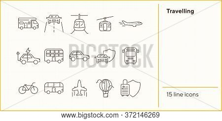 Travelling Line Icon Set. Airplane, Bus, Double Decker, Camper Van, Car. Vacation Concept. Can Be Us