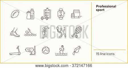 Professional Sport Line Icon Set. Tennis, Supplement, Game. Competition Concept. Can Be Used For Top