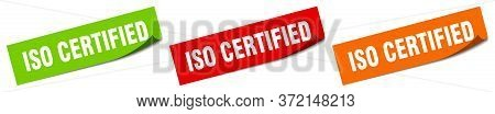 Iso Certified Sticker. Iso Certified Square Isolated Sign. Iso Certified Label