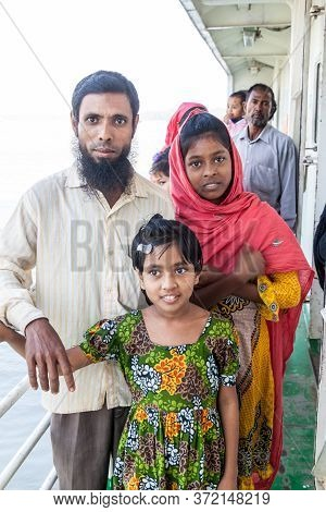 Morrelganj, Bangladesh - November 19, 2016: Passengers Of Mv Modhumoti Ship, Bangladesh