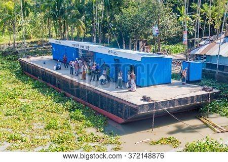 Katcha, Bangladesh - November 19, 2016: View Of Charkhali Launch Ghat Pier On Katcha Kacha River, Ba