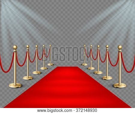 Vector Illustration Red Event Carpet And Golden Barriers With Lights Projectors. Realistic Illustrat