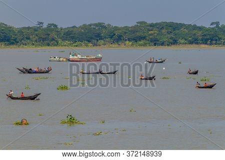Katcha River, Bangladesh - November 19, 2016: Various Boats On Katcha Kacha River, Bangladesh