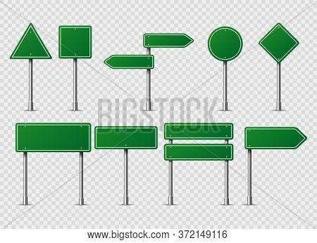 Green Vector Road Traffic Signs. Road Board Text Panel, Mockup Signage Direction Highway City Signpo