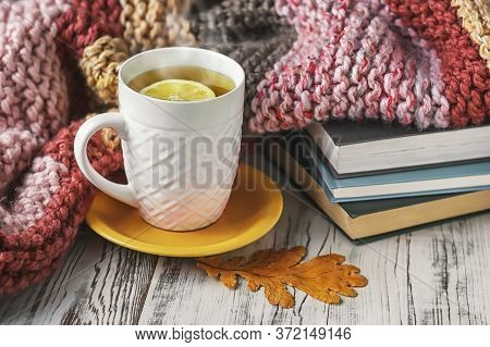 A сup Of Tea, Knitted Blanket And Dry Leaves On The Background Of A Knitted Blanket.