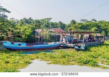 Hularhat, Bangladesh - November 19, 2016: View Of Hularhat Launch Ghat Pier , Bangladesh