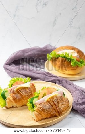 Delicious Croissants Sandwichs With Fresh Ham, Cheese, Tomato, Cucumber, Lettuce And Sub Sandwich Wi