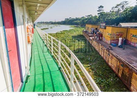 Hularhat, Bangladesh - November 19, 2016: Ship Is Arriving To Hularhat Launch Ghat Pier , Bangladesh