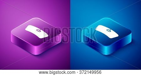 Isometric Windshield Icon Isolated On Blue And Purple Background. Square Button. Vector Illustration