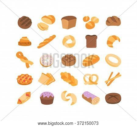 Large Set Of 25 Colorful Bread Icons Showing Assorted Loaves, Rolls, Buns, Cakes, Pretzels, Bagels A