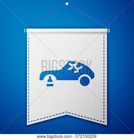 Blue Broken Car Icon Isolated On Blue Background. Car Crush. White Pennant Template. Vector Illustra