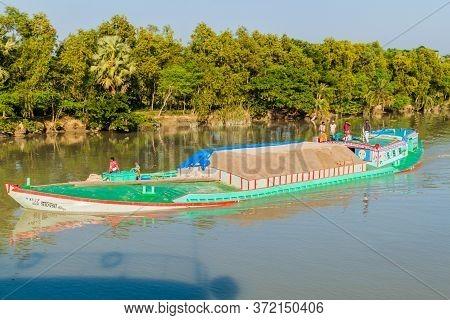 Gabkhan Channel, Bangladesh - November 19, 2016: Sand Loaded Cargo Ship On Gabkhan Channel, Banglade