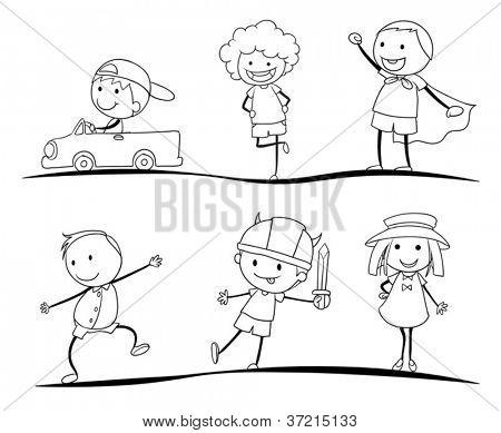 bocetos de actividad de los niños sobre un fondo blanco
