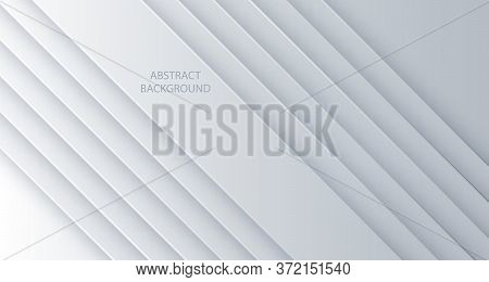 White Vector Background Abstract Lines. Design Geometrical White Texture. Abstract 3d Background Wit
